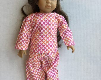"2 piece cotton pajamas fit 18"" dolls such as American girl."