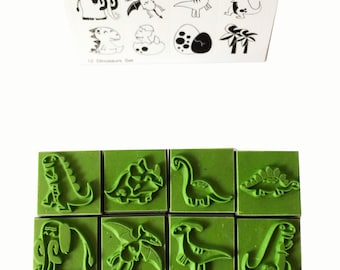 12 Dinosaurs Funny Characters Rubber Stamp