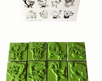 12 Cute Funny Animals Happy Toon Set Rubber Stamp