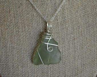 Fancy Green Sea Glass Wire Wrap