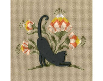 "RTO counted cross-stitch kit with plywood form ""Cat"", CBE9002"