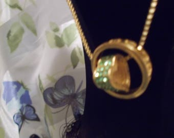Heart Shaped Necklace With Green Stones