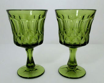 Noritake Perspective Avocado Green Goblets 10 oz. Set Of 3