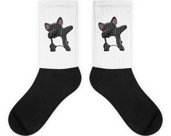 Funny Dabbing French Bulldog Socks, Cute French Bulldog Gift, Frenchie Dog Dab Dance Print