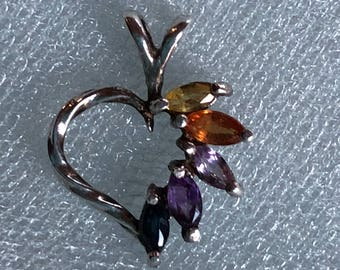 Natural Sapphire and Amethyst Sterling Silver Pendant