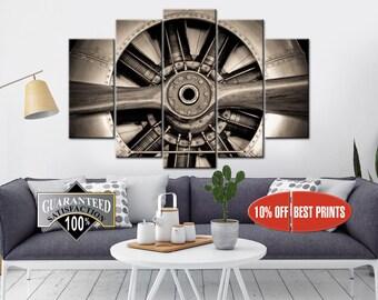 Aircraft Canvas, Aviation Wall Art, Engine Propeller, Propeller Wall Art, Aircraft Wall Decor, Aircraft Print, Propeller Canvas, Aviation