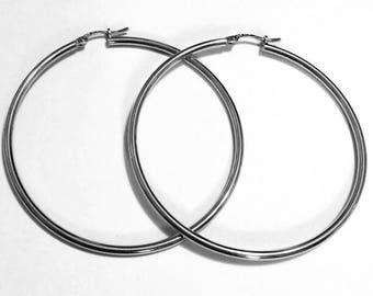 """14k solid white gold(2""""inch)bold tube hoop earrings(2.5gr)"""