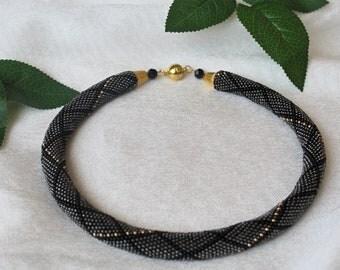 Necklace gray Knitted necklace Gray necklace of beads Beadwork Beaded crochet necklace Beaded harness