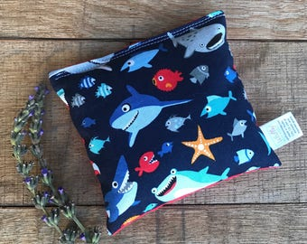 Kids Boo Boo Bag- Shark Gift - Gift For Boy - Aromatherapy Pad - Child's Ice Pack -Lavender Hot Pack - Peppermint Ice Pack - Shark Lover