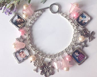 Personalised family picture charm bracelet, made using your own family pictures.  Choice of four colours, Mother's Day, family gifts
