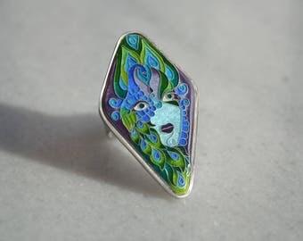 Peacock Ring, Cloisonné Enamel ring, Silver ring, Statement ring, Cocktail ring, Boho ring, Bohemian ring