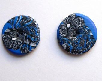 Large Blue White Black Flower Buttons - handmade in polymer clay