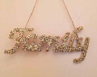 Gold glitter Family sign