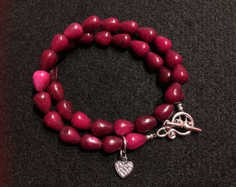 Agate bracelet with heart charm