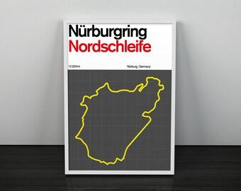 PRINT: Nürburgring Nordschleife Racing Circuit / Motorsport Poster Artwork