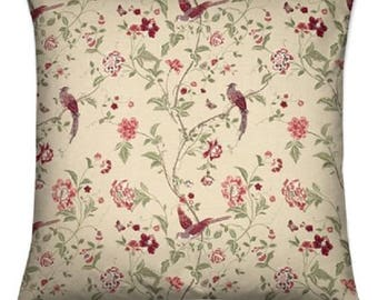 cushion cover made with laura ashley summer palace cranberry fabric red white