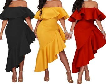 Elegant off-shoulder a-symetrical dress