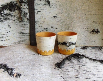 White cups made of birch bark (0.25l.)