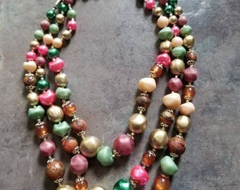 Vintage three strand necklace marked japan