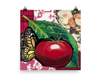 Tomato and Butterfly - Beautiful Archival Cotton Rag Fine Art Giclée Print Supporting the Nonprofit Fresh Artists