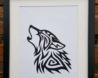 Wolf picture - Handmade papercut wolf wall art / picture unframed