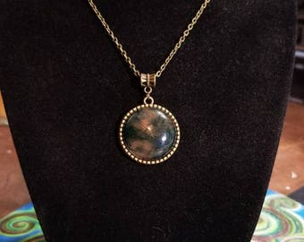 """18"""" Moss Agate Tree Of Life cabochon necklace"""