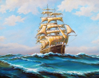 Ship painting, original painting, seascape painting, oil on canvas, seascape, original art, large sea painting, nautical, Valentine day gift