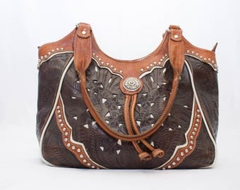 American West Tooled Studded Leather Western Style Purse