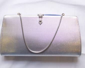 Silver Lame Rulo Creative Evening Bag with Rhinestone and Marquis detail at Clasp
