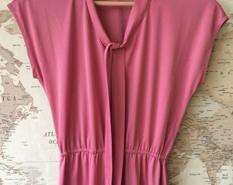 Pink Vintage Tie Neck Dress