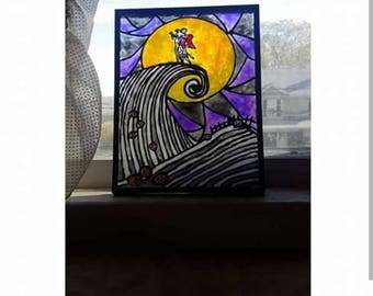 Hand painted nightmare before Christmas stained glass