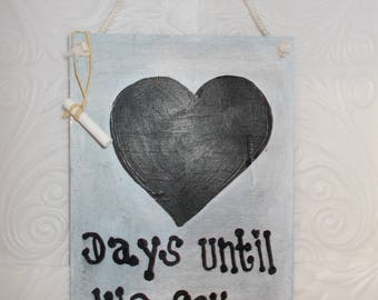 Wedding Chalk Board Countdown Hanging Art Decor Sign