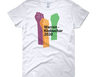 Women's T-shirt 2020 Democratic Party Presidential Ticket Warren - Klobuchar Fist Pump Graphic Tee Ladies' Sizes Small to 2X Plus Size