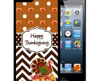 Rubber Case For iPhone X, 8, 8 plus, 7, 7 plus, 6s, 6s plus, 5, 5s, 5c, SE -Turkey Fall Chevron
