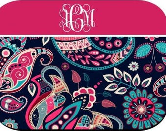 Monogrammed Mouse Pad - Navy Pink Paisley