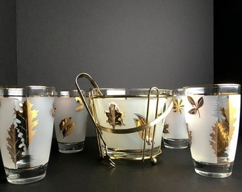 Gold leaf bar set with ice bucket , carrier, tongs and four glasses