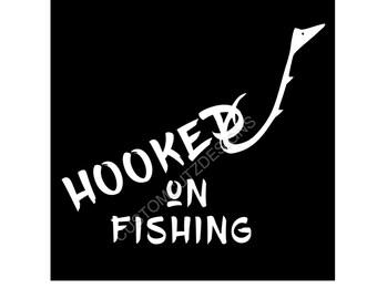 Fishing Vinyl Decal, Car Decal, Sport, Laptop Decal, Yeti Decal, Vinyl, Hooked on Fishing, Vinyl Decal, Window Decal