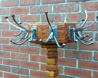 Stunning Handmade Vintage Oak and Pine Coat Rack