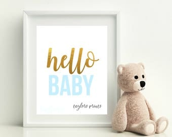 Hello Baby, Boy's Nursery Art Printable, Baby Blue And Gold, DIY Baby Gift Idea, Home Wall Decor, Instant Download 8x10 JPEG