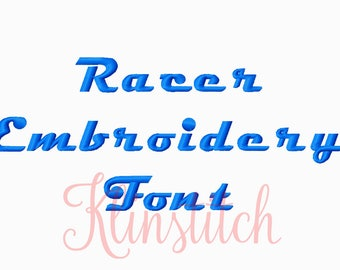 50% Sale!! Racer Embroidery Fonts 3 Sizes Fonts BX Fonts Embroidery Designs PES Fonts Alphabets - Instant Download