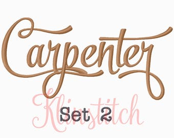 50% Sale!! Set 2 Carpenter Embroidery Fonts 5 Sizes Fonts BX Fonts Embroidery Designs PES Fonts Alphabets - Instant Download