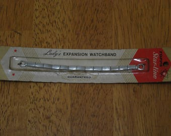 Topps/Star-Line Lady's Expansion Watchband Short - 4 3/4 inch Loop to loop clasp Old Stock New in Pack