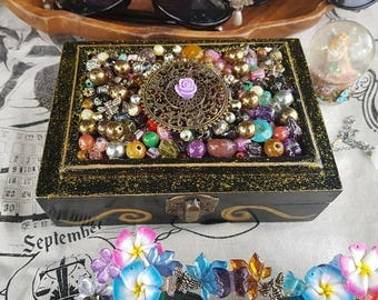 Purple Flower Tarot and Jewellery Box