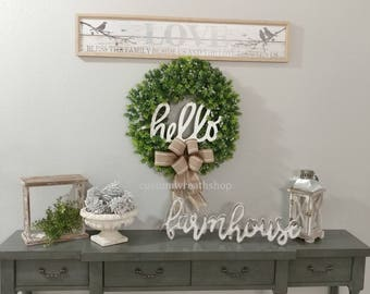 Spring Wreath,Boxwood Wreath,Everyday Wreath,Wall Rustic Decor,Farmhouse Wreath,Wall Distressed Sign,Wreath for Door,Front Door Wreath