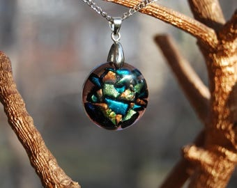Pendant dichroic glass, Fused glass, Fusing glass pendant, Jewelry, Fused glass jewelry, Dichroic glass jewelry, Gift.