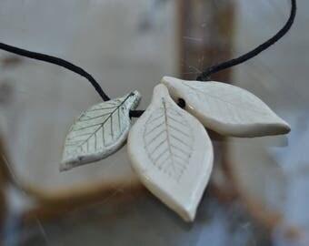 """Ceramic """"Beech leaf"""" necklace II"""