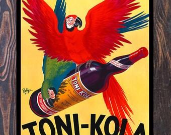 Vintage Toni-Kola Parrot Liquor Ad Giclee Art Print, fine Art Reproduction