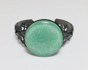 Light Green Fused Glass Bracelet