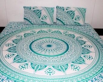 Boho Queen Size Mandala Bedding Duvet Doona Set - Green Sun