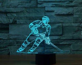 Hockey Player 3D Night Lamp, 3D Night Light Children Light Home Decor Illusion light